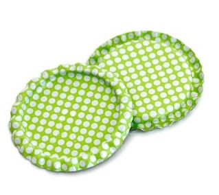 10 Pieces.Two Sided Lime Green - White Polka Dots Bottle Caps Flattened