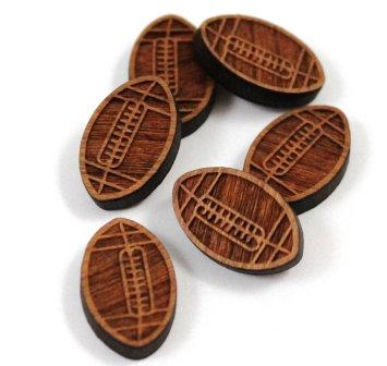 Laser Cut Supplies-8 Pieces.Football Charms-Acrylic.Wood Laser Cut Shapes