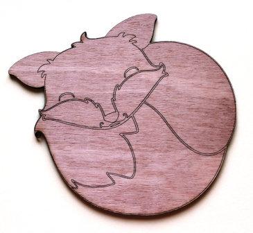 Laser Cut Supplies-1 Piece. Sleeping Fox Charms-Acrylic. Wood Laser Cut Shape