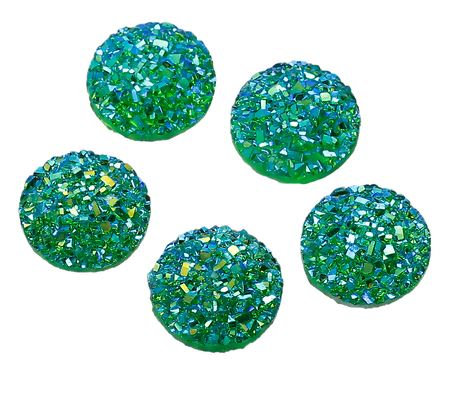 10 Pieces. Emerald Sparkle. 12mm Round Glitter Resin Mini Charms