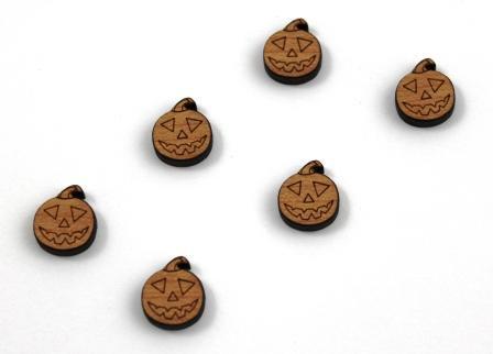 8 Pieces. Halloween Pumpkin Charms-Wood Laser Cut Shapes