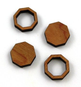 8 Pieces. Octagon Bezel Mini Charms-Wood Laser Cut Shape