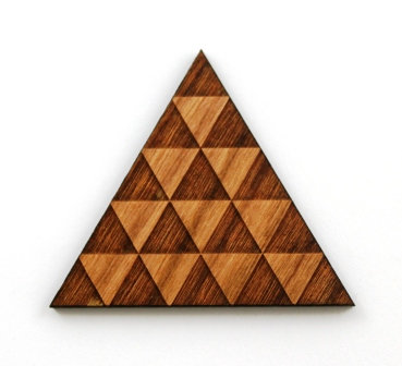 1 Piece. Patterned Triangle Charms- Wood Laser Cut Shapes