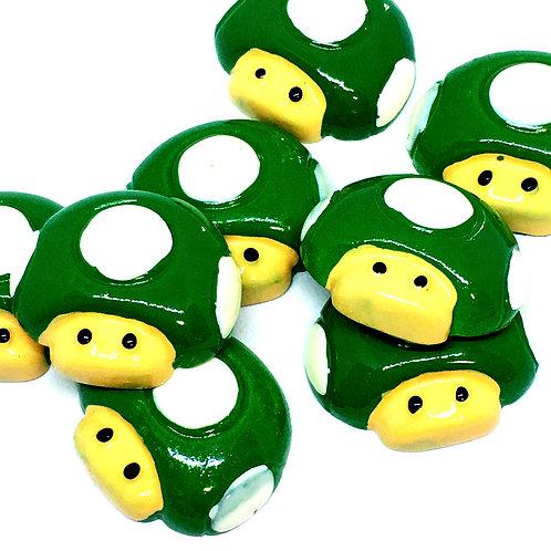 1 Piece. Green Mushroom Resin Cabochon Flatbacks