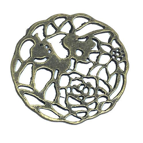 4 Pieces. Deer Flower Link Pendant. Antiqued Bronze