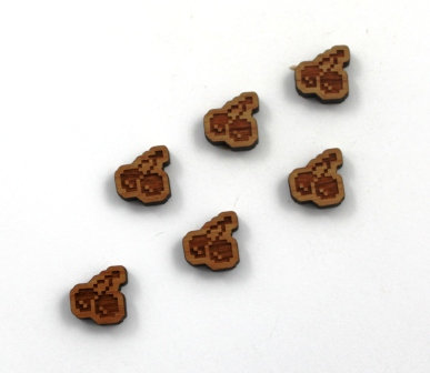 8 Pieces. Retro Cherry Charms-Wood Laser Cut Shapes