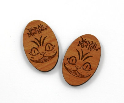 1 Piece. Cheshire Cat Charms-Acrylic. Wood Laser Cut Shapes
