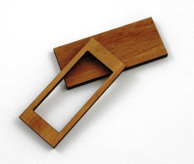 1 Piece. Rectangle Bezel Charms- Wood Laser Cut Shapes