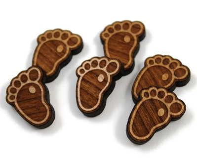 Laser Cut Supplies-8 Pieces.Baby Feet Charms-Acrylic.Wood Laser Cut Shapes