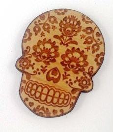 Laser Cut Supplies- 1 Piece.Folk Art Skull Charms-Acrylic. Wood Laser Cut Shape