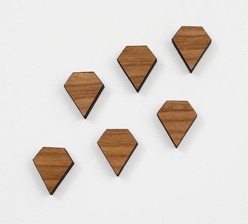 8 Pieces. Diamond Plain Charms-Wood Laser Cut Shape