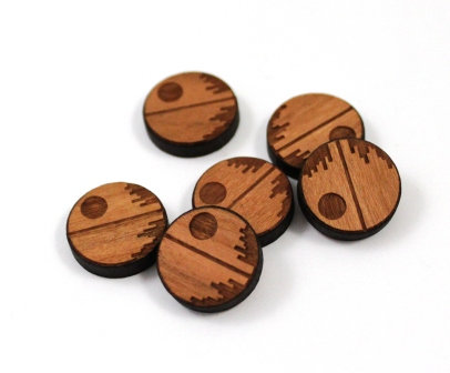 Laser Cut Supplies-8 Pieces. Death Star Charms-Acrylic.Wood Laser Cut Shapes