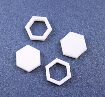 8 Pieces. Hexagon Bezel Mini Charms-Acrylic Laser Cut Shape