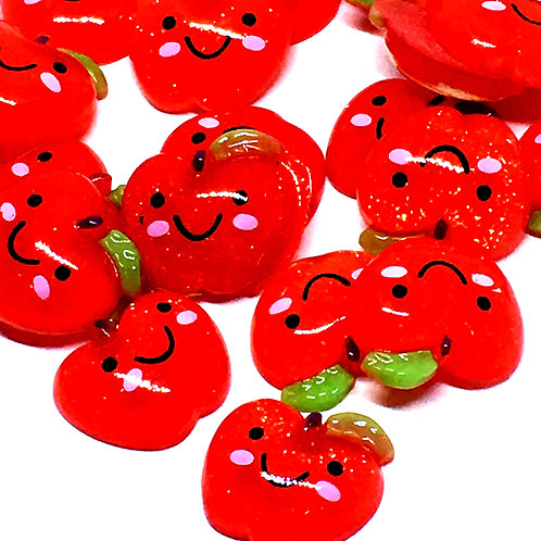 1 Piece. Rosy Red Apple Resin Cabochon Flat Back Embellishments