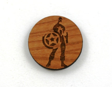 1 Piece. Captain America Charms-Acrylic. Wood Laser Cut Shapes
