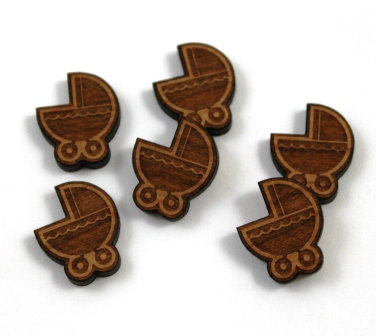 Laser Cut Supplies-8 Pieces.Baby Pram Charms-Acrylic.Wood Laser Cut Shapes