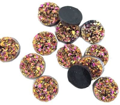 10 Pieces. Copper Sunset Sparkle. 12mm Round Glitter Resin Mini Charms
