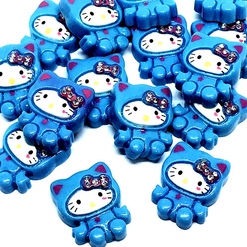 1 Piece. Blue Kitty With Rhinestone Resin Cabochon Flatbacks