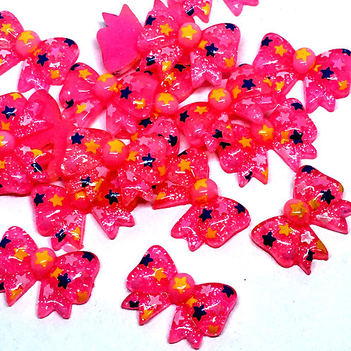 1 Piece. Pink Bow With Stars Resin Cabochon Flat Back Embellishments