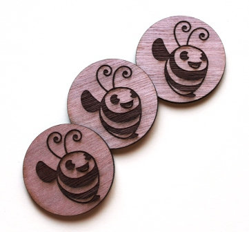Laser Cut Supplies-1 Piece. Little Bee Charms-Acrylic. Wood Laser Cut Shape