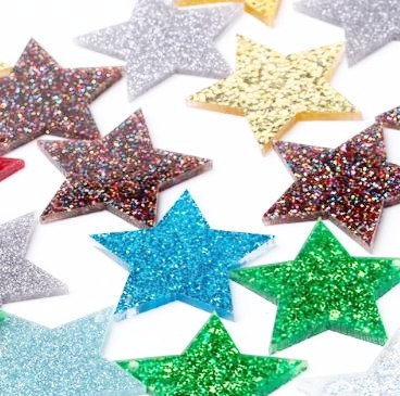 4 Pieces.Mixed Star Dangles-Includes Hole.Premium Acrylic Laser Cut Shapes