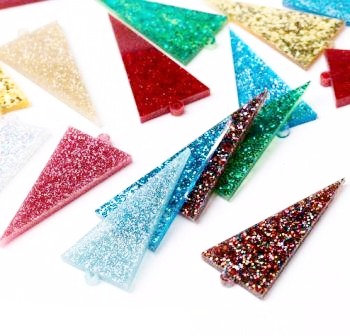 4 Pieces.Mixed Triangle Dangles-Includes Hole.Premium Acrylic Laser Cut Supplies