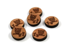 Laser Cut Supplies-8 Pieces. Cute Owl Charms-Acrylic.Wood Laser Cut Shapes