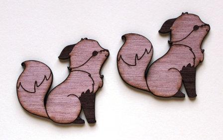 Laser Cut Supplies-1 Piece. Little Fox Charms-Acrylic. Wood Laser Cut Shape