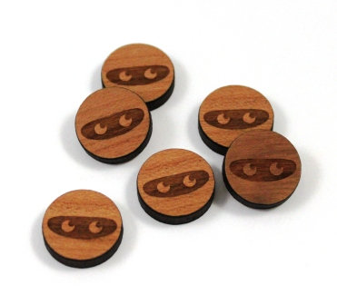 Laser Cut Supplies-8 Pieces. Ninja Charms-Acrylic.Wood Laser Cut Shapes