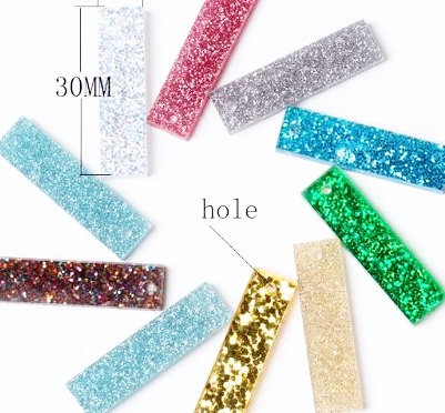 4 Pieces.Mixed Rectangle Dangles-Includes Hole.Premium Acrylic Laser Cut Shapes