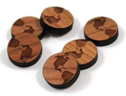 Laser Cut Supplies-8 Pieces. World Charms-Acrylic.Wood Laser Cut Shapes