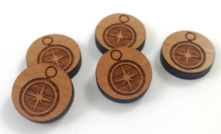 Laser Cut Supplies-8 Pieces. Compass Charms-Acrylic.Wood Laser Cut Shapes