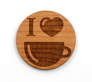 1 Piece. I Heart Coffee Charms- Wood Laser Cut Shapes