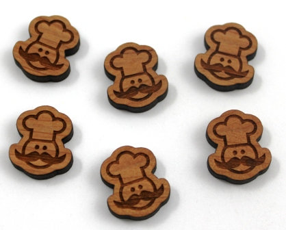 8 Pieces. Little Chef Charms-Wood Laser Cut Shapes