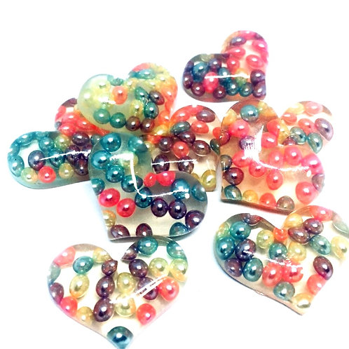 1 Piece. Floating Pearl Heart Resin Cabochon Flatbacks