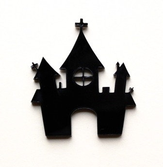 Laser Cut Supplies-1 Piece. Castle Charms-Acrylic.Wood Laser Cut Shape