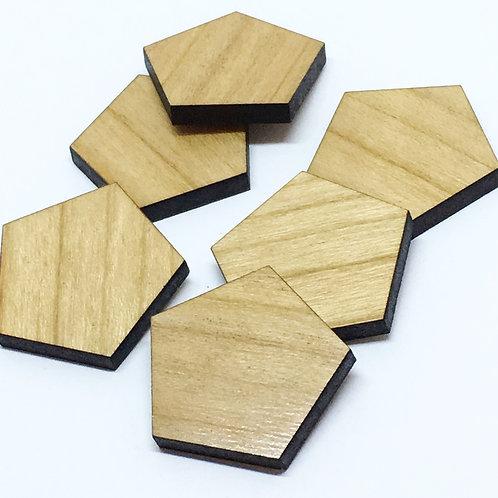 1 Piece. Pentagon Charms- Wood Laser Cut Shapes