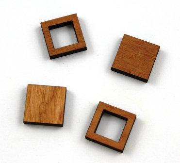 8 Pieces. Square Bezel Mini Charms-Wood Laser Cut Shape