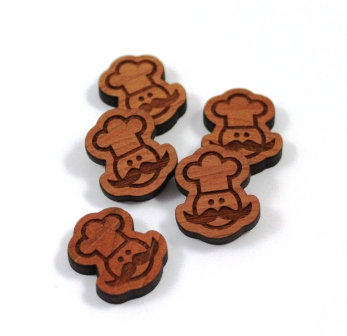 Laser Cut Supplies-8 Pieces. Chef Charms-Acrylic.Wood Laser Cut Shapes
