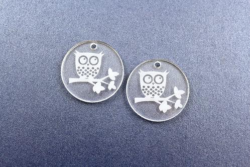 Laser Cut Supplies-1 Piece. Owl Disc Charms-Acrylic.Wood Laser Cut Shape