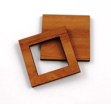 1 Piece. Square Bezel Charms- Wood Laser Cut Shapes