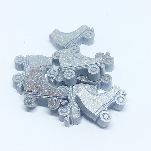 Laser Cut Supplies-8 Piece. Roller Skate Charms-Acrylic.Wood Laser Cut Shapes