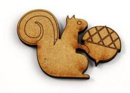 Laser Cut Supplies-1 Piece. Squirrel Charms-Acrylic. Wood Laser Cut Shape