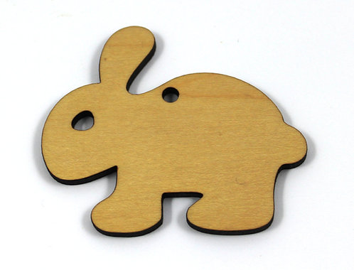 1 Piece. Bunny Smooth Charms- Wood Laser Cut Shapes