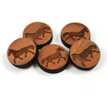 Laser Cut Supplies-8 Pieces. Running Horse Charms-Acrylic.Wood Laser Cut Shapes