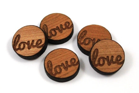 Laser Cut Supplies-8 Pieces. Love Charms-Acrylic.Wood Laser Cut Shapes