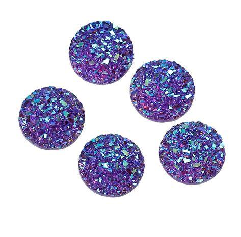 10 Pieces. Lavander Sparkle. 12mm Round Glitter Resin Mini Charms