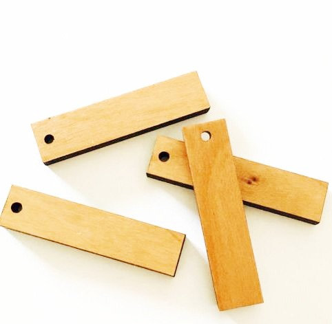 8 Pieces. Rectangle Dangle Charms-Wood Laser Cut Shapes