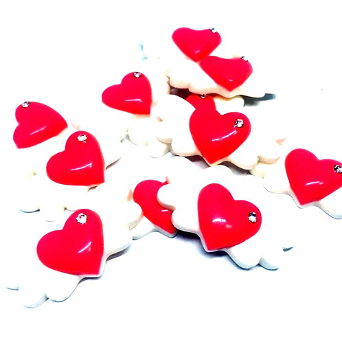 1 Piece. Heart With Wings And Rhinestone Resin Cabochon Flatbacks