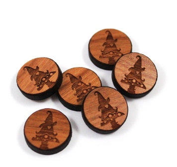 Laser Cut Supplies-8 Pieces. Gnome Charms-Acrylic.Wood Laser Cut Shapes